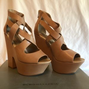 Platform heels matte beige leather